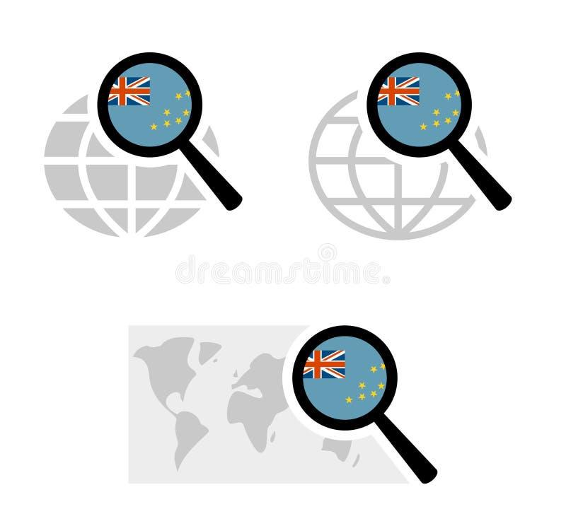 Ícones da busca com bandeira de Tuvalu ilustração do vetor