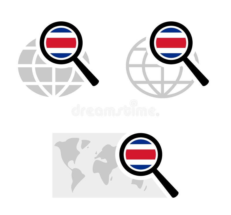 Ícones da busca com a bandeira rican da costela ilustração stock