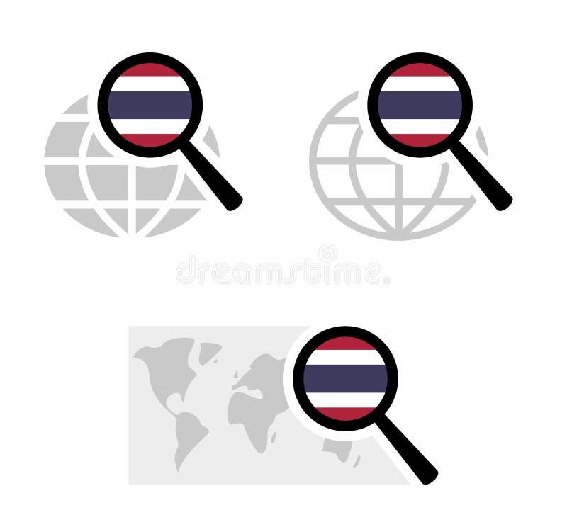 Ícones da busca com bandeira tailandesa ilustração stock