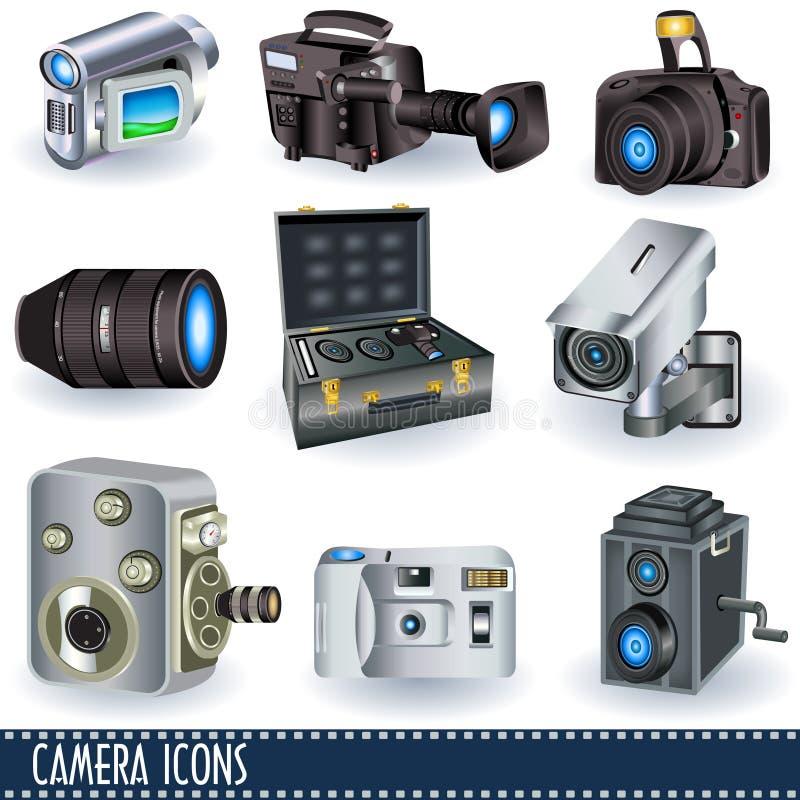 Ícones da câmera ilustração royalty free