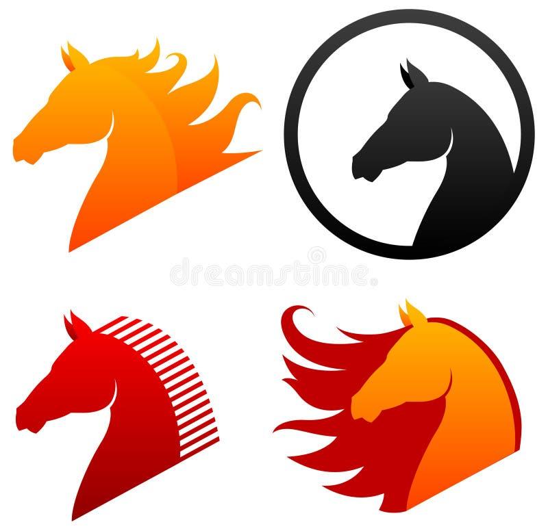 Ícones da cabeça de cavalo ilustração royalty free