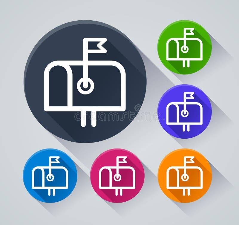 Ícones da caixa de letra com sombra ilustração stock