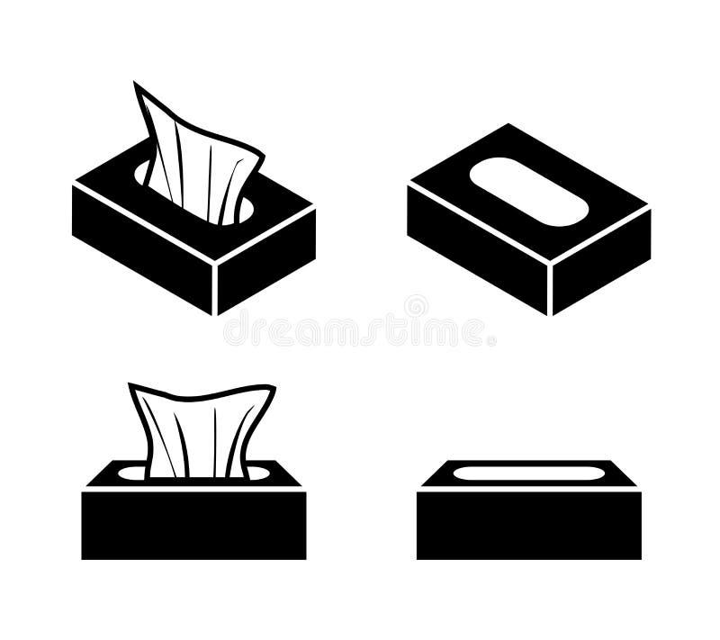 Ícones da caixa do tecido no estilo liso, projeto do vetor ilustração do vetor