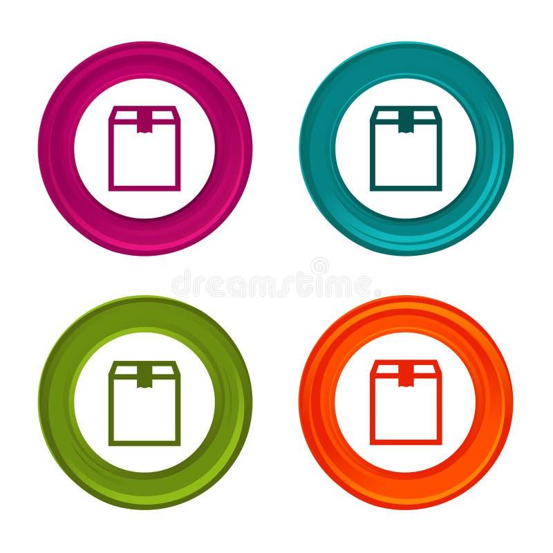 Ícones da caixa da entrega Sinais da caixa de transporte Símbolo da compra Botão colorido da Web com ícone ilustração royalty free