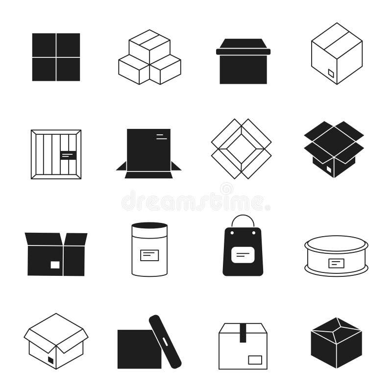 Ícones da caixa Símbolos do vetor da pilha do correio dos envelopes dos pacotes do cartão isolados ilustração stock