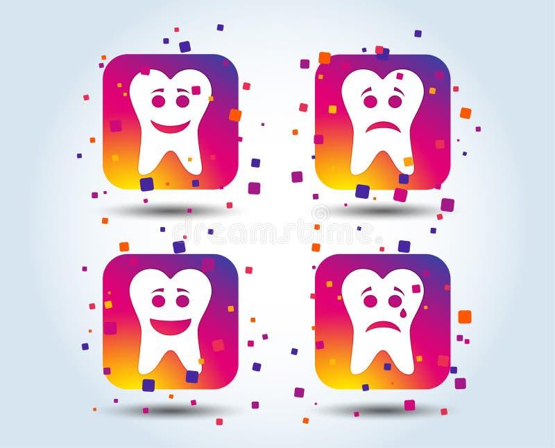 Ícones da cara do sorriso do dente Feliz, triste, grito ilustração royalty free