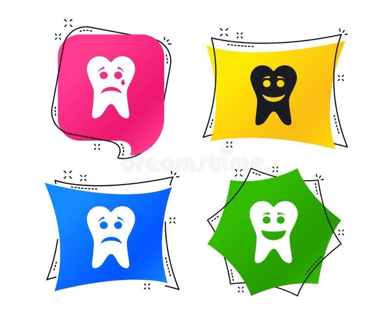 Ícones da cara do sorriso do dente Feliz, triste, grito Vetor ilustração royalty free
