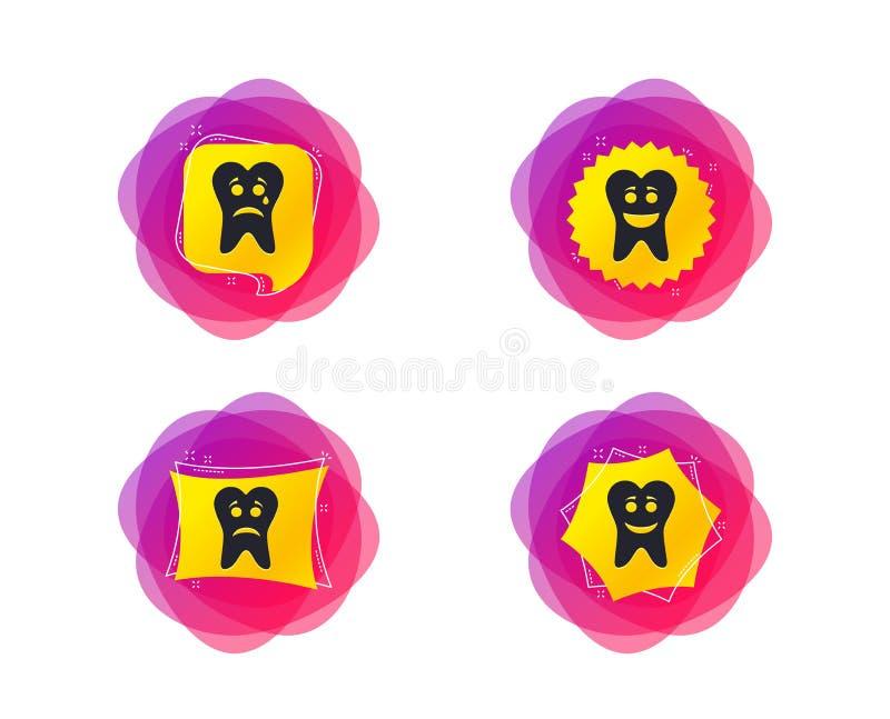 Ícones da cara do sorriso do dente Feliz, triste, grito Vetor ilustração stock