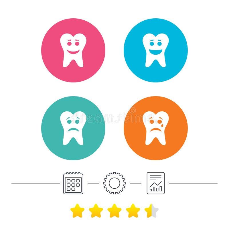 Ícones da cara do sorriso do dente Feliz, triste, grito ilustração do vetor