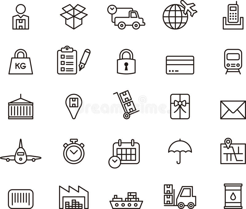 Ícones da carga, da entrega, do transporte do frete & do transporte ilustração do vetor