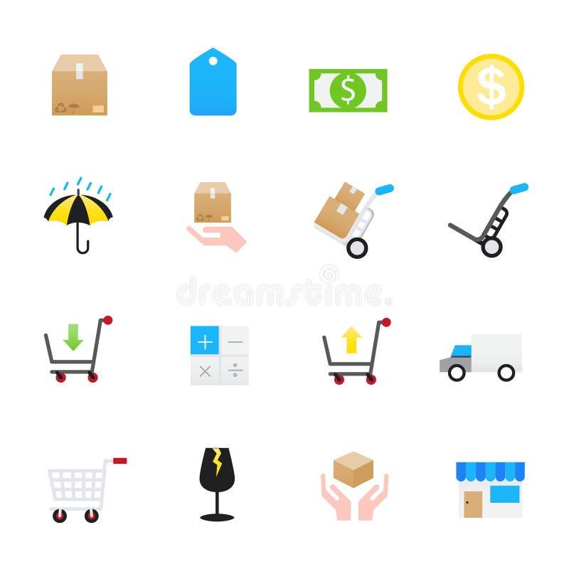 Ícones da carga Grupo de estilo liso dos ícones da cor da ilustração do vetor do negócio ilustração royalty free