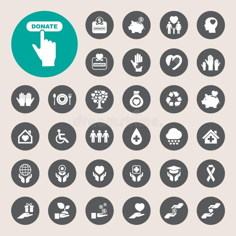 Ícones da caridade e da doação ajustados ilustração do vetor