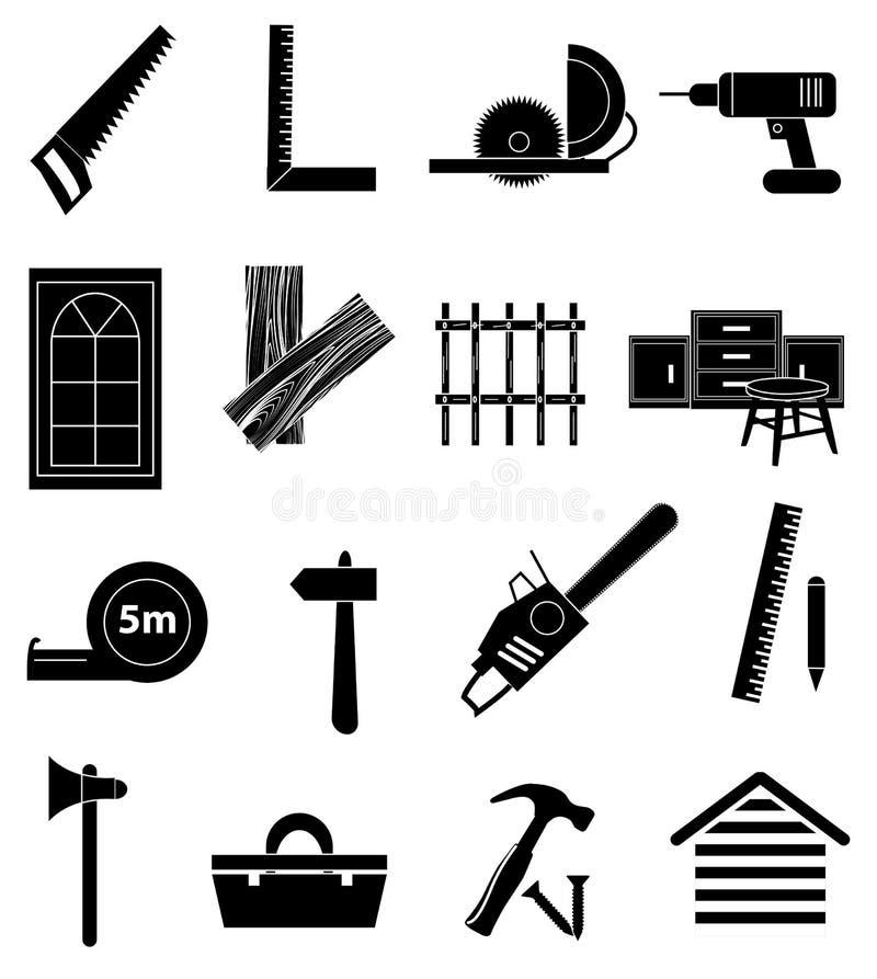 Ícones da carpintaria ajustados ilustração stock