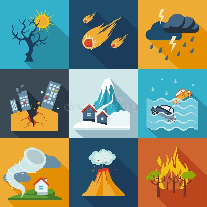 Ícones da catástrofe natural ilustração do vetor