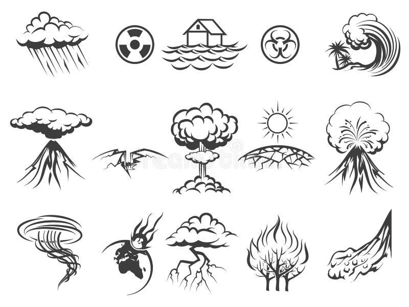 Ícones da catástrofe natural ilustração royalty free