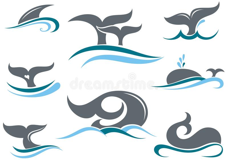 Ícones da cauda da baleia ilustração royalty free