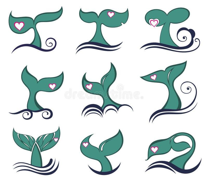 Ícones da cauda da baleia ajustados ilustração stock