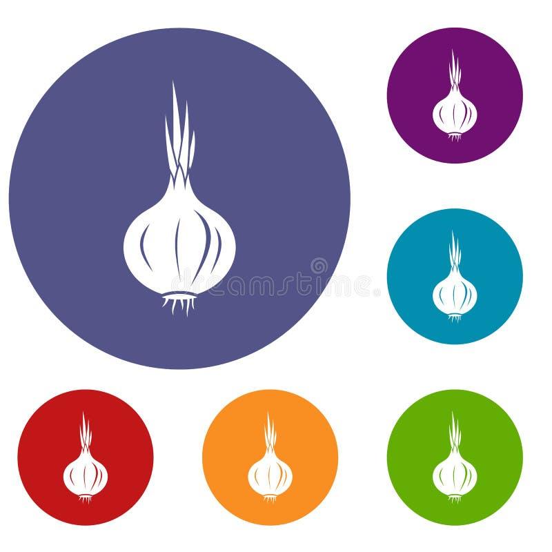 Ícones da cebola ajustados ilustração royalty free
