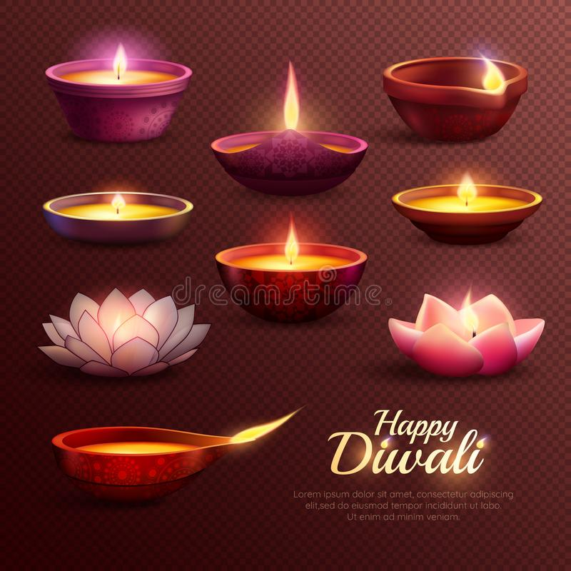 Ícones da celebração de Diwali ajustados ilustração stock