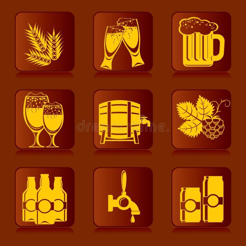 Ícones da cerveja ilustração do vetor