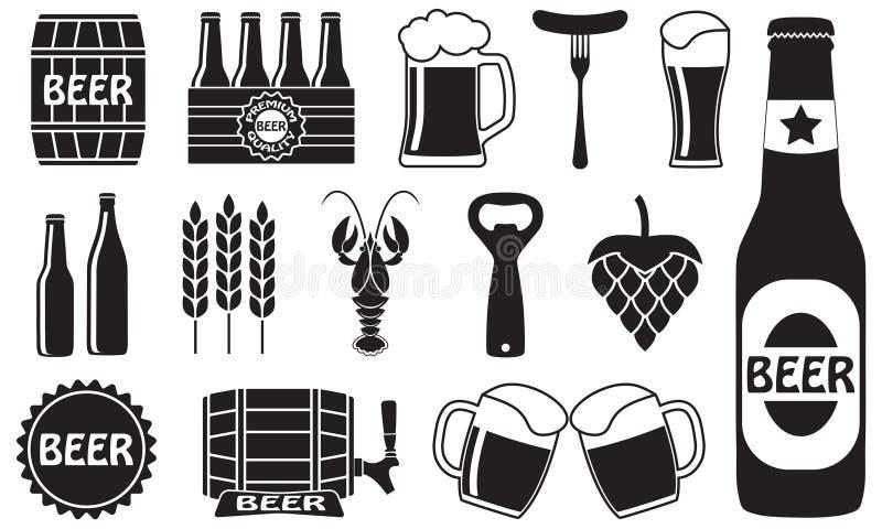 Ícones da cerveja ajustados: garrafa, abridor, vidro, torneira, tambor Símbolos e elementos do projeto para o restaurante, o bar  ilustração do vetor