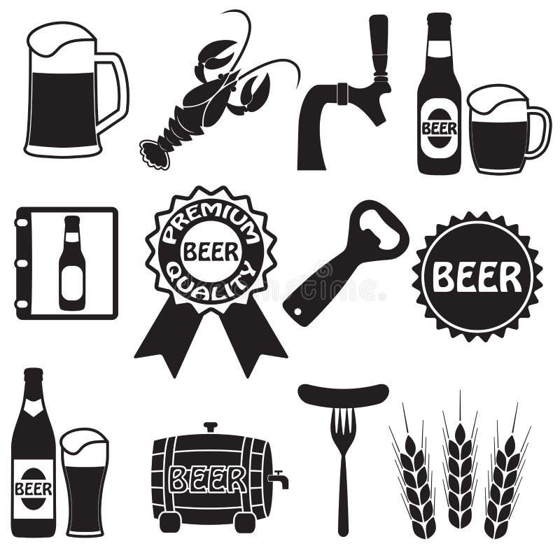 Ícones da cerveja ajustados Símbolos da cerveja e elementos do projeto Vetor ilustração do vetor