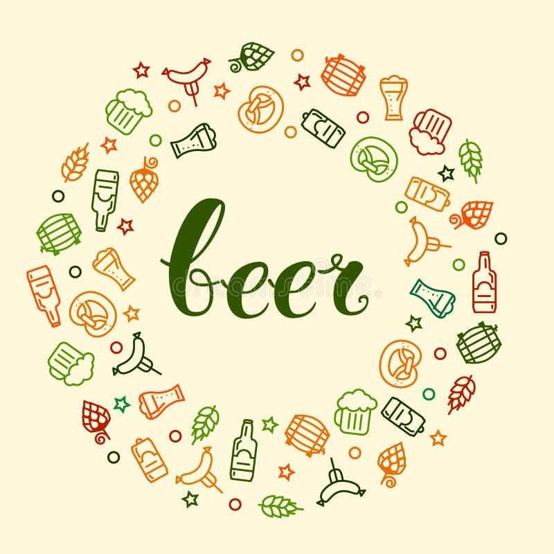 Ícones da cerveja e rotulação da mão ilustração royalty free