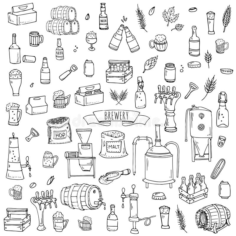 Ícones da cervejaria ilustração stock