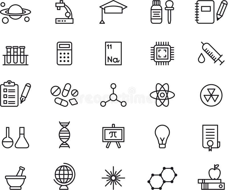 Ícones da ciência ilustração royalty free