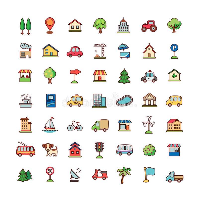 Ícones da cidade ajustados ilustração do vetor