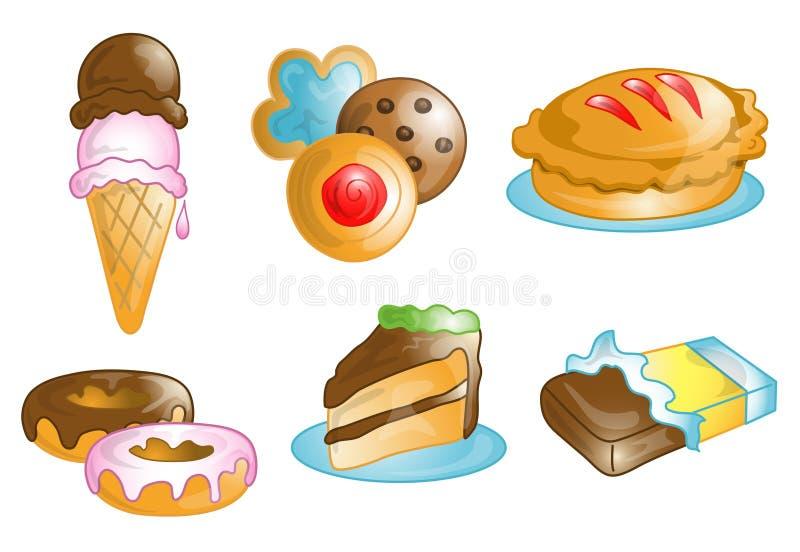 Ícones da comida lixo e da sobremesa ilustração royalty free