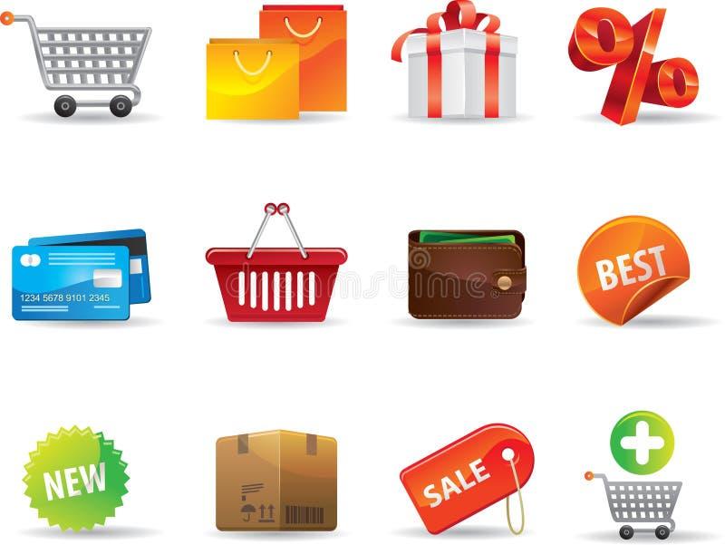 Ícones da compra ilustração stock