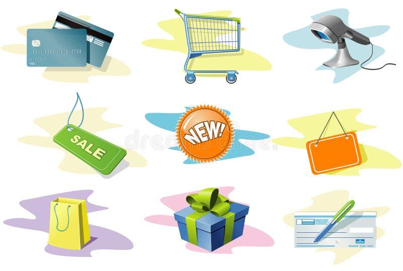Ícones da compra ajustados ilustração stock