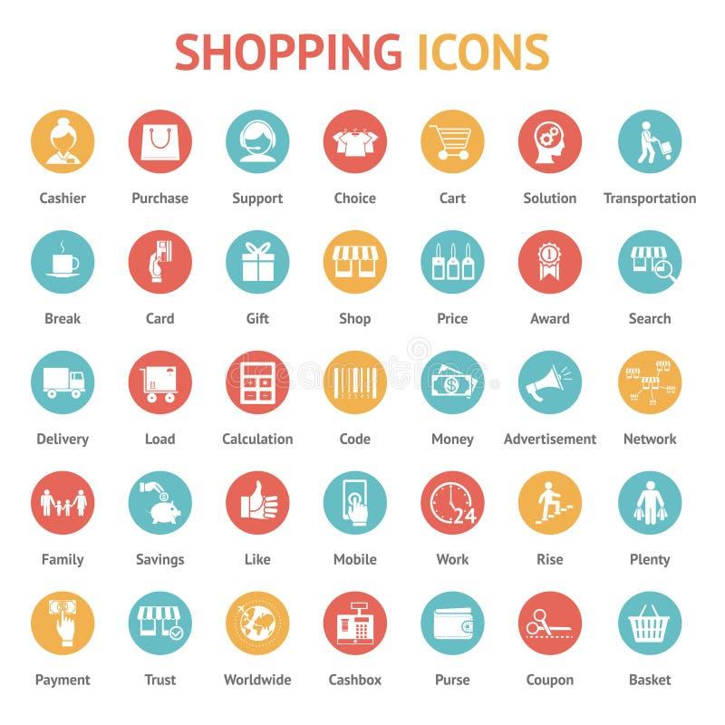 Ícones da compra, do pagamento e da entrega ilustração stock