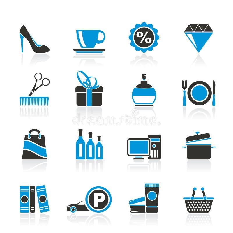 Ícones da compra e da alameda ilustração do vetor