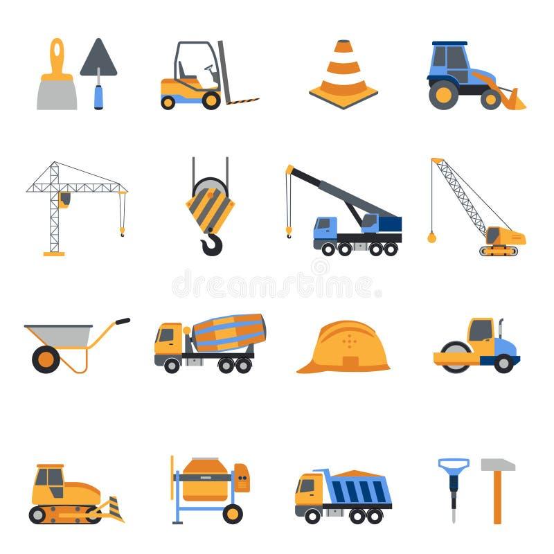 Ícones da construção ajustados ilustração stock