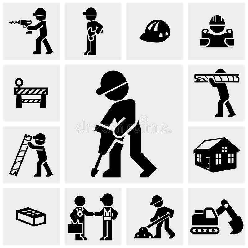 Ícones da construção ajustados no cinza ilustração royalty free