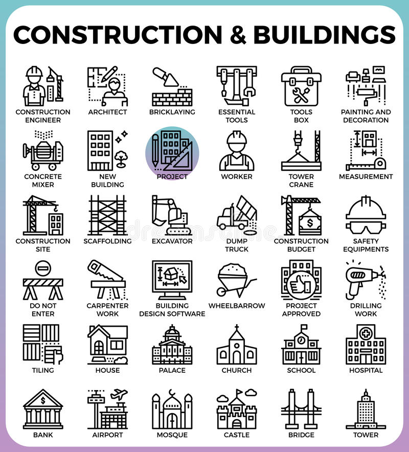 Ícones da construção & das construções ilustração royalty free