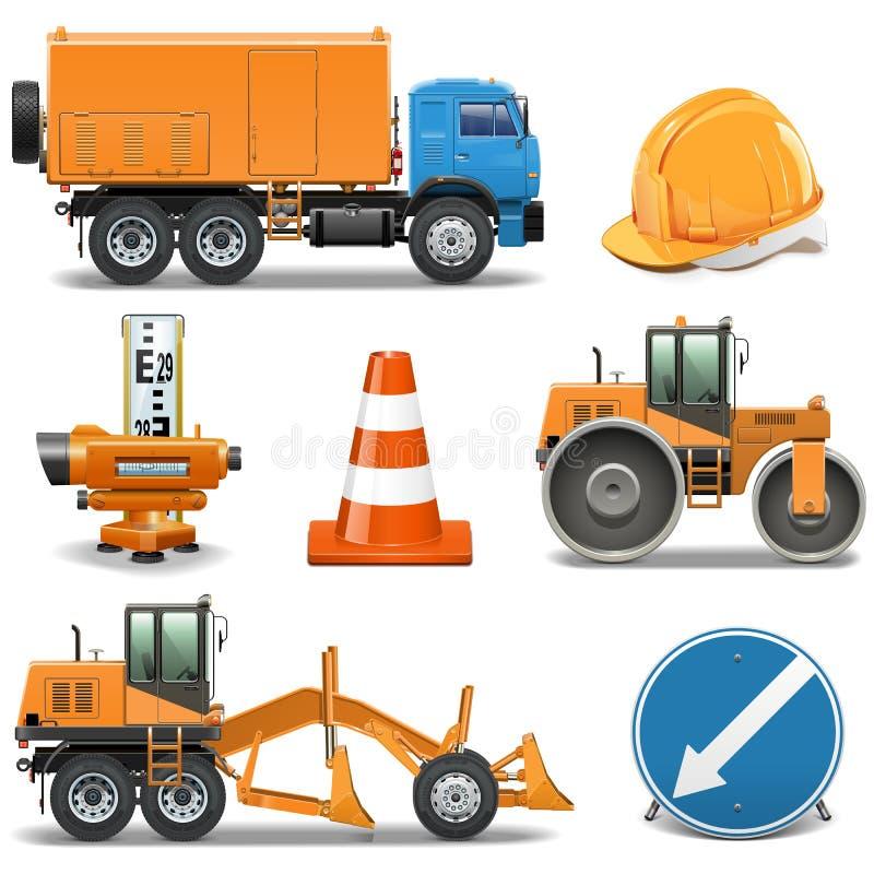Ícones da construção de estradas do vetor ilustração do vetor