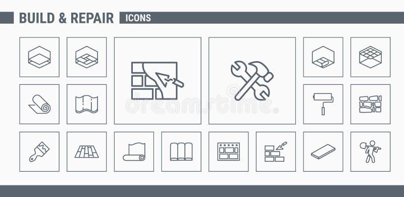Ícones da construção & do reparo - ajuste a Web & o móbil 03 ilustração do vetor
