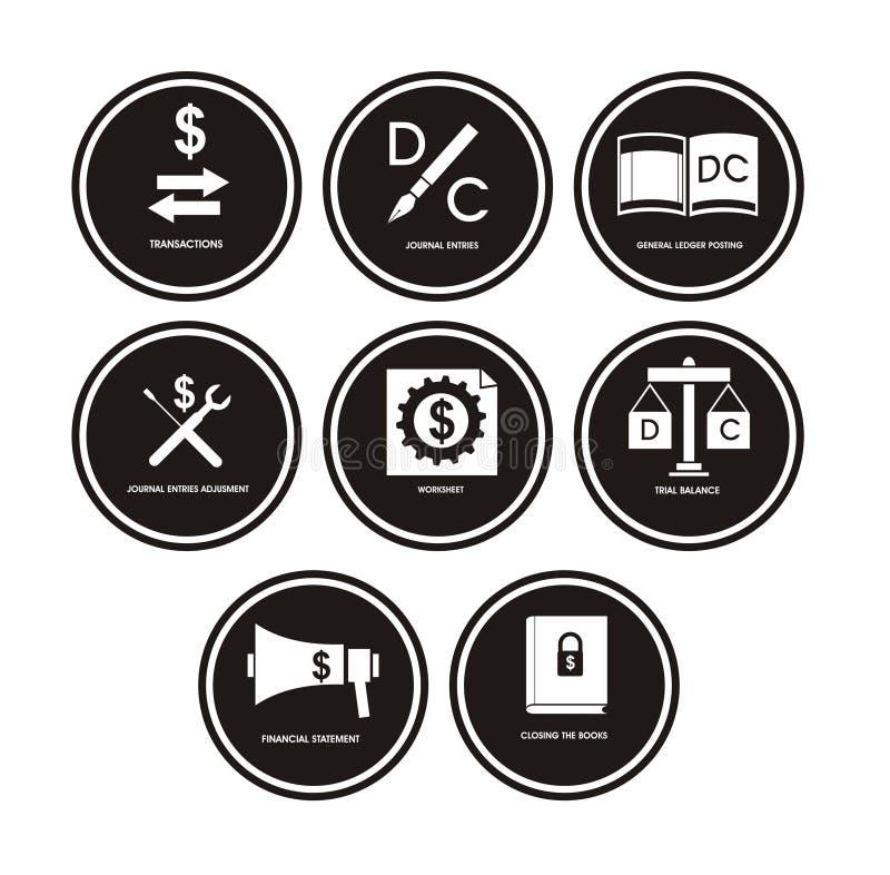 Ícones da contabilidade ilustração do vetor