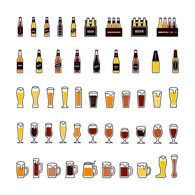 Ícones da cor das garrafas e dos vidros de cerveja ajustados Vetor ilustração stock