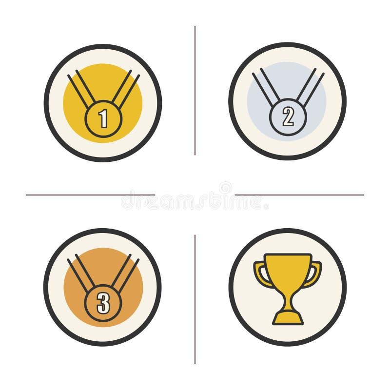 Ícones da cor das recompensas da competição ajustados ilustração royalty free