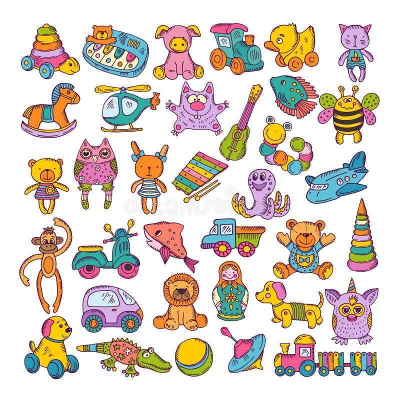 Ícones da cor de brinquedos das crianças Ilustrações tiradas mão do vetor Jogo do Doodle ilustração royalty free