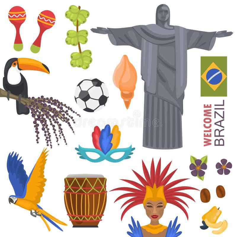 Ícones da cor do curso de Brasil ajustados no branco ilustração royalty free