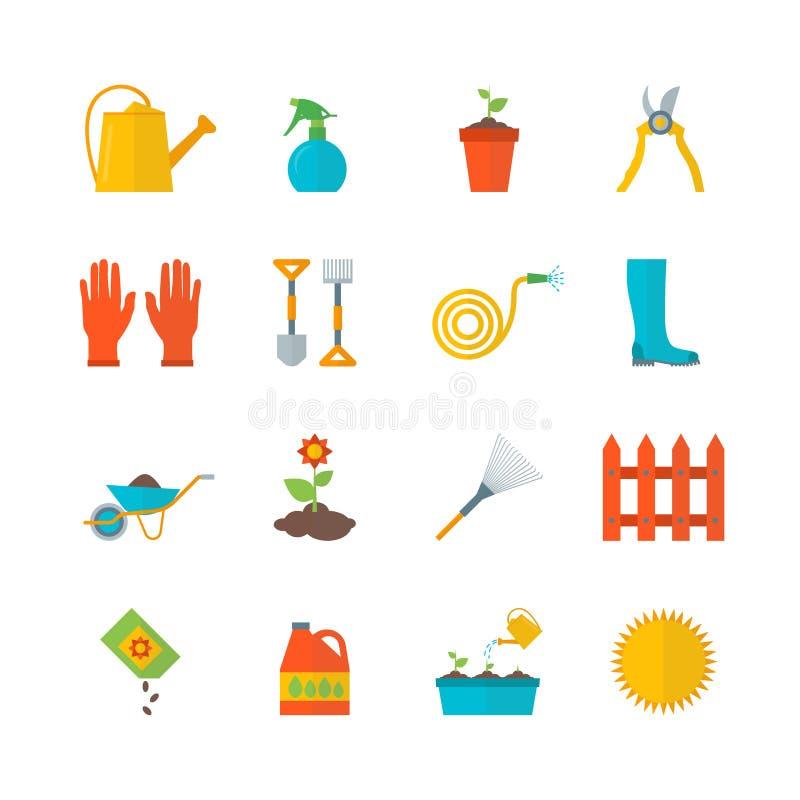 Ícones da cor do equipamento de jardinagem dos desenhos animados ajustados Vetor ilustração do vetor
