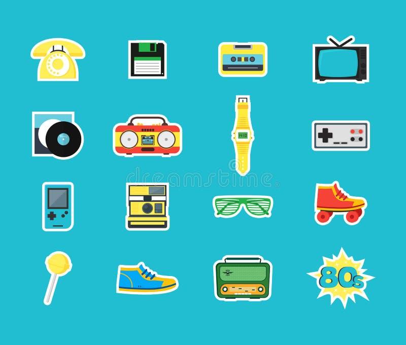 Ícones da cor do símbolo do estilo dos anos 80 dos desenhos animados ajustados Vetor ilustração do vetor