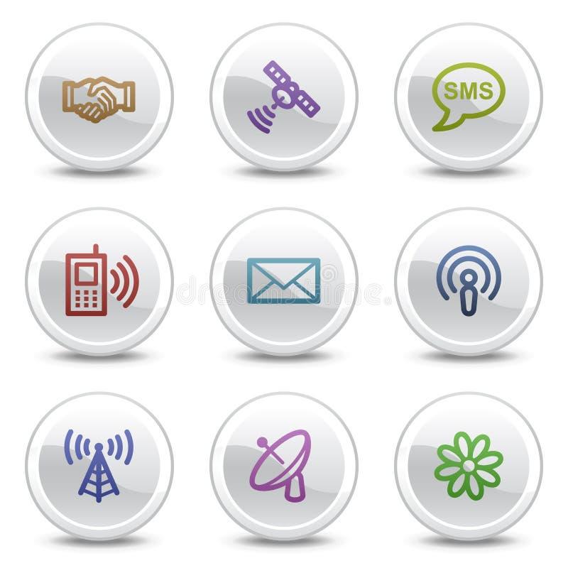 Ícones da cor do Web de uma comunicação, teclas do círculo