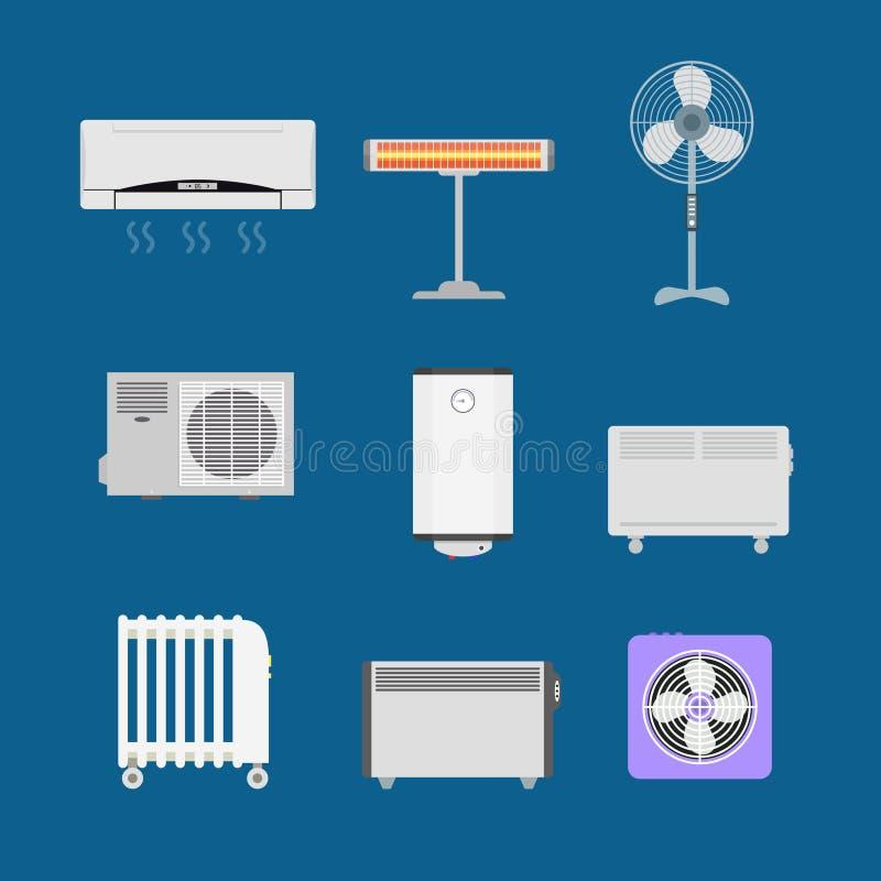 Ícones da cor dos dispositivos de aquecimento dos desenhos animados ajustados Vetor ilustração do vetor