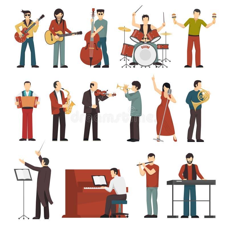 Ícones da cor dos músicos ajustados ilustração stock